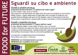 Food for future: sguardi su cibo e ambiente. Pordenone 31/10 e 07/11